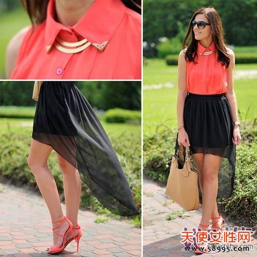支招3:西瓜红上衣+黑色连衣裙+同色系配饰