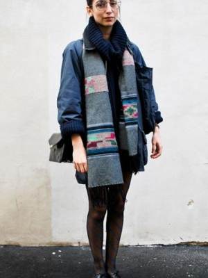 冬天学纽约潮人们巧搭配外套围巾
